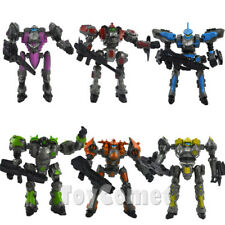 Set of 6 Mechanical Warrior Team Robot Action Figures DIY Toy w/Weapons