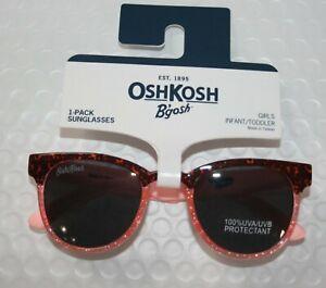 New OshKosh Girls Sunglasses 1 2 yr 0-24m 100% UVA-UVB Tortoise & Pink Glitter