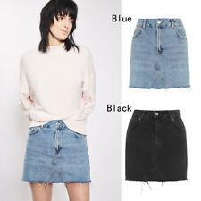 New Women Irregular Denim Pencil Jeans Mini Skirt Casual High Waist