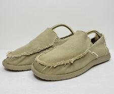 Crocs Men's Santa Cruz Tan Khaki Canvas Slip On Loafers Size 10