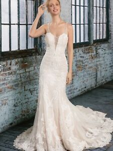 99008 By Justin Alexander Bridal Wedding Dress Sand/Ivory/Silver/NudeSize 8 BNWT
