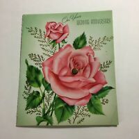 Vintage 1955 Greeting Card On Your Wedding Anniversary Rose  Great Art!