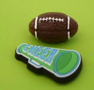 Crocs Jibbitz Charms * 3D Football & Cheer Megaphone* Authentic! NEW with TAGS!