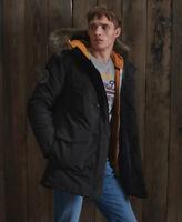 Superdry Mens Everest Parka Jacket Black Fur Parka Quilted Coat