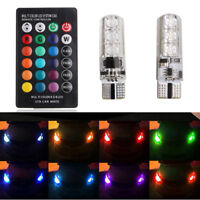 2PCS/lot T10 6LED RGB 5050SMD Auto Car Wedge Side Light Lamp W/Remote Controller