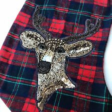 NWT Pottery Barn Embroidered Deer Red Plaid Christmas Stocking Personalized Eli