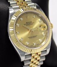 Rolex Datejust 41mm 126333 Jubilee 18K Yellow Gold/SS Factory Diamond Watch *NEW