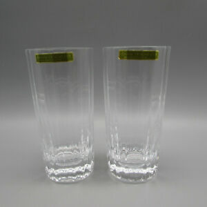 Dansk Crystal Oval Facette Highball Tumblers - Set of Two