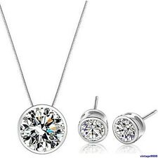 084 Damen Halskette / Anhänger + Ohrstecker Set  925 Sterling Silber Zirkon NEU