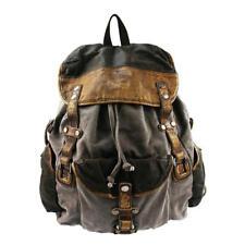 Men Retro Washed Canvas Leather Backpack Shouder Bag Traveling Knapsack Tote Bag