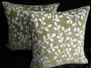 Green Off White Plant Leaf Design Chenille Set of 2 Cushion Covers 45cm Au Made