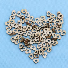 100pcs Blank Mini Hollow Wooden Heart Embellishments Crafts Wedding Decor 10mm
