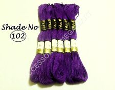 6 Purple Anchor Cross Stitch Cotton Embroidery Thread Floss / skeins - 8m Each