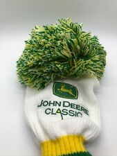 John Deere Classic White Green Yellow Pom Knit Driver Golf Club Headcover Rare