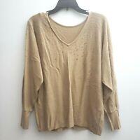 Vince Camuto Embellished Dolman-Sleeve Sweater Sz Medium Brown Sequins Vneck NWT