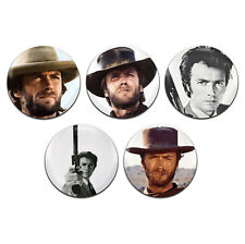 5x Clint Eastwood Actor Movie Western 25mm / 1 Inch D Pin Button Badges