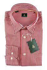 Men's ROBERT TALBOTT Red Striped Extrafine Cotton Dress Shirt 15 1/ 2 M NWT $198