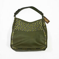 NWT Treska Large Faux Leather Olive Green Studded Shoulder Bag 13x12x5.5 inches