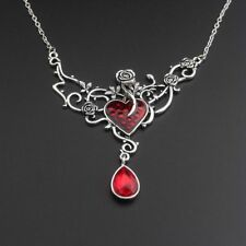 New Silver Plated Beauty & The Beast Austrian Crystal Necklace Pendant Gift Bag