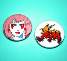 SET OF 2 JEM AND THE HOLOGRAMS PUNK ROCK DOLL BUTTON PIN BADGES