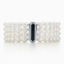 NEW Tiffany & Co. Ziegfeld Pearl 4 Row Bracelet with Onyx & Sterling Clasp