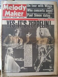 Melody Maker Sept 20th '75 - Led Zeppelin Yes Wings John Martyn Pink Floyd Who