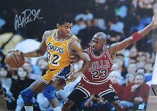 Magic Johnson Signed 16x20 Photo Lakers w/ Jordan