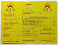 1960's Original Vintage Breakfast Menu Card CARAVAN INN Riverside California