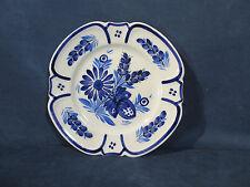 Quimper Plate Vintage Porcelain Flower Hand Painted Blue and Cream Signed France