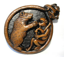Musical Medieval Plaque Dancing Bear Monkey Bagpipes Cathedral church music gift