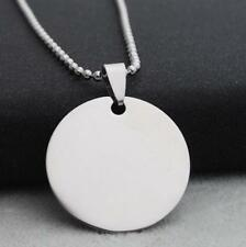 Round Stainless Steel Army ID Dog Tag Pendant Chain Silver Vouge Necklace