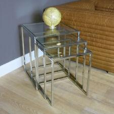 Glastisch Set 3er Tisch Glas Quadrat Modern Beistelltisch Lampe Wohnzimmertisch