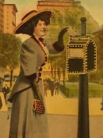 Postcard, To My Sweetheart, Valentines, Gold, 1910, Lady Mailing Letter J02