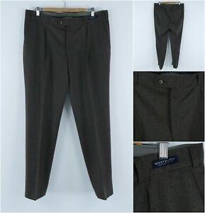 WESTBURY C&A Vintage Mens Dark Brown Wool Dress Pants Trousers SIZE W38 L33