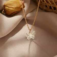 Simple Gold Butterfly Pendant Necklace Choker Clavicle Chain Women Jewelry Gifts