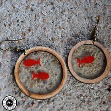 wood earrings for women, red, light, medium size,Square model, circle model