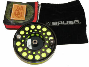 Bauer M7 USA large arbour black finish fly reel spool with Rio Grand Spey 9/1...