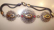 "Ruby's Filigree Round Panels Bracelet 7.5""  Sterling .925 Silver"