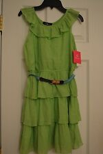 AMY BYER Solid Lime Green  Easter Spring Dress Girls Size 14 NWT