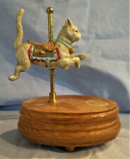 Hand Painted Porcelain Willitts Cat Music Box - Rare - Countryside Carousel