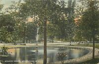 Boonville New York~Erwin Park~Fountain Pool~Path Around~Benches~1908 Postcard