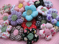 20 Padded Dots Cotton Fabric Flower Appliques-Mix