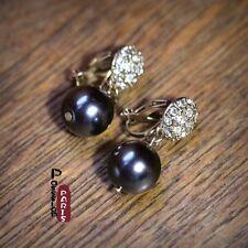 Costume Class Earrings CLIP ON Gold Grey Black Glass Pearl Crystal Wedding J3