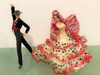 "Marin Chiclana Spain Flamenco Vtg 2 Doll Set Matador Dancer Set 12"" Red/Black"