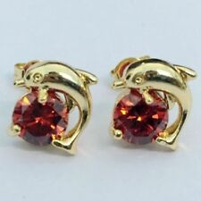 Solitaire Stud Post Earring Simulated Deep Red Garnet Rose Tone Plated 925 Sterling Silver