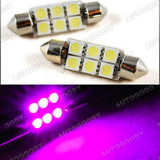 2x Pink LED Bulbs 41mm 6-SMD 5050 Dome Map Trunk Light Lavender