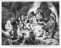 COON HUNTING NEGROES TELLING STORIES ROUND THE CAMPFIRE AT NIGHT COON HUNT DOGS
