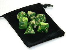 Wiz Dice 7 Die Polyhedral Set Jade Oil Green Swirl RPG DnD Dice With Dice Bag