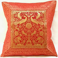 "Cushion Cover 17x17"" 43cm Indian Silk Gold Brocade Animal Birds Tapestry Boho"