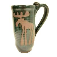 MOOSE Pottery Coffee MUG Cup Made in ALASKA Glazed Green Hand Crafted 6in Signed
